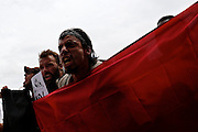 William Estrella, right, and other members of the Black Bloc anarchist group and other protesters march through the streets during the 2012 Republican National Convention on August 27, 2012 in Tampa, Fla.