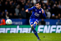 Christian Fuchs of Leicester City misses his penalty - Mandatory by-line: Robbie Stephenson/JMP - 18/12/2018 - FOOTBALL - King Power Stadium - Leicester, England - Leicester City v Manchester City - Carabao Cup Quarter Finals