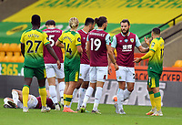 Football - 2019 / 2020 Premier League - Norwich City vs. Burnley<br /> <br /> Norwich City's Emiliano Buendia fouls Burnley's Ashley Westwood and receives a red card, at Carrow Road.<br /> <br /> COLORSPORT/ASHLEY WESTERN