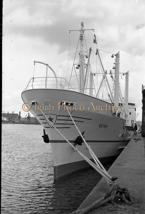 """""""Echo"""" a new ship to sail the Holland Ireland line, visits Dublin Port.<br /> 08.08.1961"""