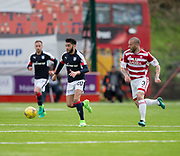 Dundee&rsquo;s Faissal El Bakhtaoui races away from Hamilton&rsquo;s Giannis Skondras - Hamilton Academical v Dundee in the Ladbrokes Scottish Premiership at the SuperSeal Stadium, Hamilton, Photo: David Young<br /> <br />  - &copy; David Young - www.davidyoungphoto.co.uk - email: davidyoungphoto@gmail.com