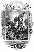 Archduke Charles of Austria (1771-1847) rallies some of 115,000 Austrian troops he commanded to victory at Aspern Essling 21-22 May 1809. First major personal defeat for Napoleon. Copperplate engraving 1832.