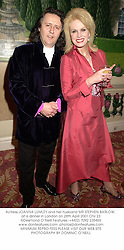 Actress JOANNA LUMLEY and her husband MR STEPHEN BARLOW, at a dinner in London on 28th April 2001.ONI 23