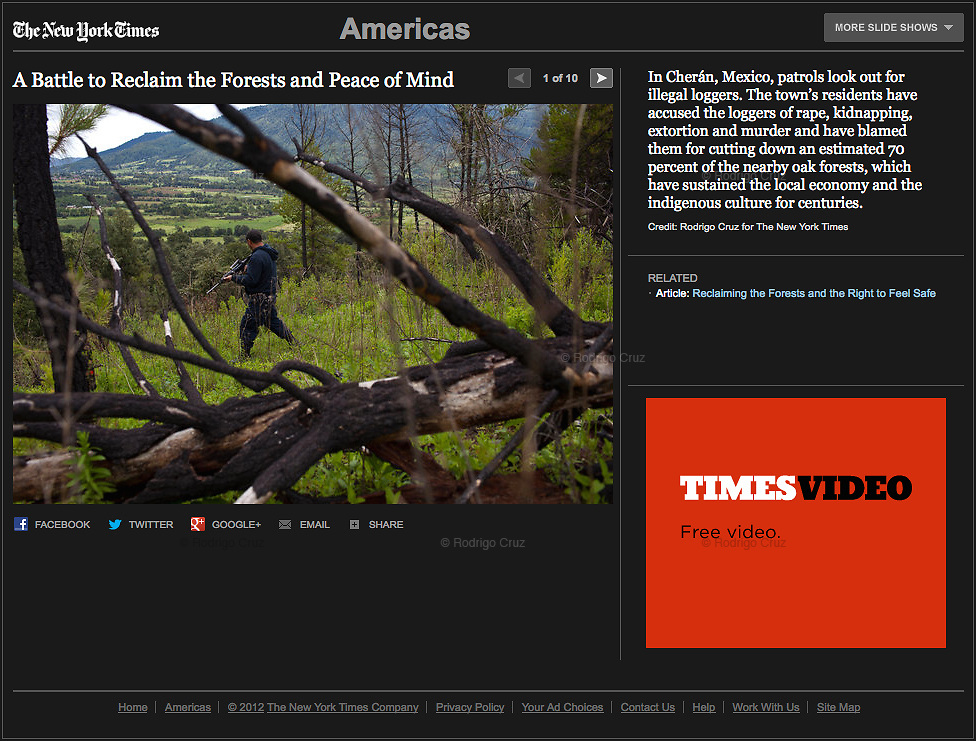"""""""Reclaiming the Forests and the Right to Feel Safe"""", The New York Times, Mexico, August 2, 2012. Photographs by Rodrigo Cruz."""