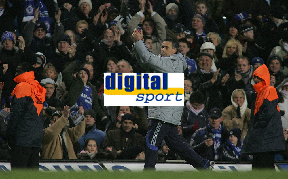 Photo: Paul Thomas.<br /> Chelsea v Wycombe Wanderers. Carling Cup, Semi Final 2nd Leg. 23/01/2007.<br /> <br /> Jose Mourinho, Chelsea manager walks off happy thanking the fans.