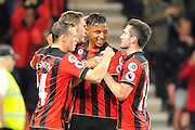 AFC Bournemouth midfielder Dan Gosling celebrates scoring a goal to give Bournemouth a 2-1 lead during the EFL Cup match between Bournemouth and Preston North End at the Vitality Stadium, Bournemouth, England on 20 September 2016. Photo by Graham Hunt.