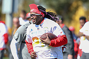 Jan 25, 2019; Kissimmee, FL, USA; Los Angeles Chargers running back Melvin Gordon lll running a play during NFC practice for the 2019 Pro Bowl at ESPN Wide World of Sports Complex. (Kim Hukari/Image of Sport)