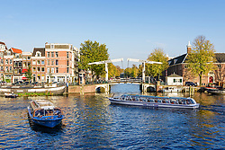 Canal boats at the Amtel in Amsterdam, the Netherlands.