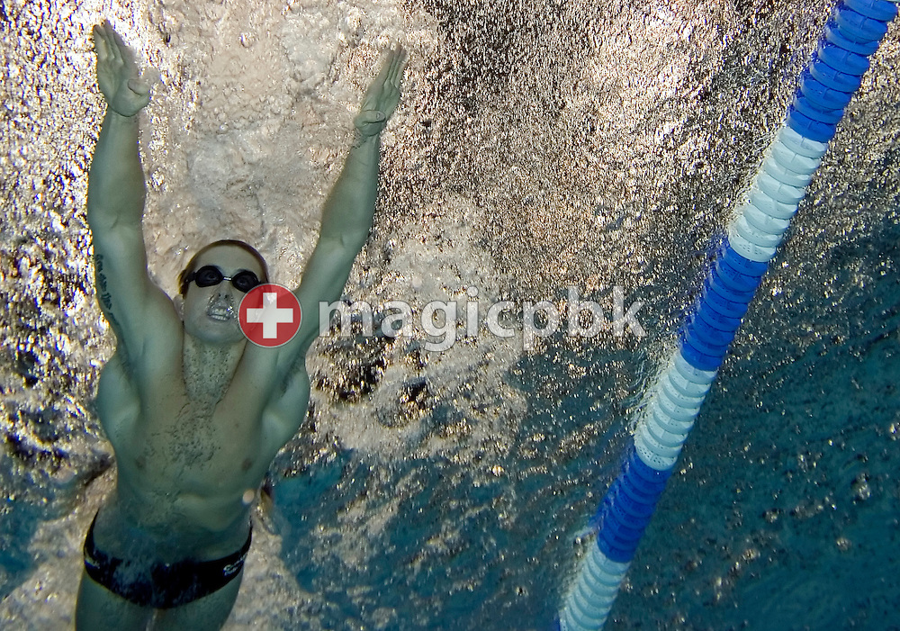 Nick D'ARCY of Australia is pictured during an under water photo session in the Schwimm- und Sprunghalle Europa Sportpark after the evening session at the Fina Swimming World Cup in Berlin, Germany, Saturday 17 November 2007. (Photo by Patrick B. Kraemer / MAGICPBK)
