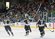Roughriders' Casey Jerry (10) celebrates his goal with Scott Moldenhauer (12) and Nick Master (11) during their game at the Cedar Rapids Ice Arena in Cedar Rapids on Saturday, September 28, 2013.