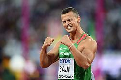 Balazs Baji of Hungary celebrates - Mandatory byline: Patrick Khachfe/JMP - 07966 386802 - 06/08/2017 - ATHLETICS - London Stadium - London, England - Men's 110m Hurdles Semi-Final - IAAF World Championships