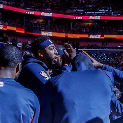 Nov 29, 2017; New Orleans, LA, USA; New Orleans Pelicans forward Anthony Davis (23) huddles with his team before a game against the Minnesota Timberwolves at the Smoothie King Center. Mandatory Credit: Derick E. Hingle-USA TODAY Sports