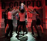 Soho Cinders<br /> at The Soho Theatre, London, Great Britain <br /> 7th August 2012 <br /> Press photocall<br /> <br /> <br /> Music George Stiles<br /> Lyrics & Book Anthony Drewe <br /> Book Elliot Davis<br /> Director Jonathan Butterell<br /> Choreographer Drew McOnie<br /> Set & Costume Designer <br /> Morgan Large <br /> Lighting Designer Hugh Vanstone <br /> Sound Designer Adam Fisher <br /> Orchestrator David Shrubsole <br /> Musical Director Stephen Ridley <br /> Associate Musical Director Alex Parker<br /> Producer Jamie Hendry <br /> Producer Daniel Sparrow & Mike Walsh <br /> <br /> <br /> Gerard Carey as William George<br /> <br /> Suzie Chard as Clodagh<br /> <br /> Raj Ghatak as Sasha<br /> <br /> Amy Lennox as Velcro<br /> <br /> Neil McCaul as Lord Bellingham<br /> <br /> Tom Milner as Robbie<br /> <br /> Amanda Posener as Sidesaddle<br /> <br /> Beverly Rudd as Dana<br /> <br /> Jenna Russell as Marylin Platt<br /> <br /> Michael Xavier as James Prince<br /> <br /> Photograph by Elliott Franks