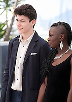 Actors Louka Minnella, Nadege Ouedraogo at The Unknown Girl (La Fille Inconnue)  film photo call at the 69th Cannes Film Festival Wednesday 18th May 2016, Cannes, France. Photography: Doreen Kennedy
