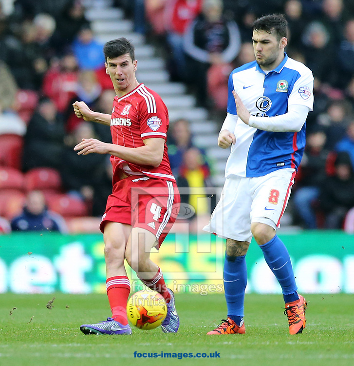 Daniel Ayala (l) of Middlesbrough and Tony Watt of Blackburn Rovers during the Sky Bet Championship match at the Riverside Stadium, Middlesbrough<br /> Picture by Simon Moore/Focus Images Ltd 07807 671782<br /> 06/02/2016