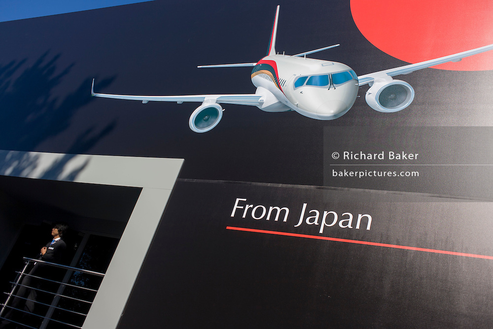 Exterior of the exhibition chalet of the Japanese aviation corporation Mitsubishi at the Farnborough Air Show, England. The Mitsubishi Regional Jet (MRJ) is a regional jet aircraft seating 70–90 passengers manufactured by Mitsubishi Aircraft Corporation, a partnership between majority owner Mitsubishi Heavy Industries and Toyota Motor Corporation.