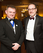At the SCSI, (Society of Chartered Surveyors Ireland) - Western Region Annual Dinner 2016 in the Ardilaun Hotel Galway were Tomas Lineen Chair CIOB Western Region and John O'Regan AECOM. . Photo:Andrew Downes, xpousre