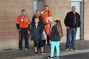 Blackpool fans by the player entrance pre-match during the EFL Sky Bet League 1 match between Blackpool and Rochdale at Bloomfield Road, Blackpool, England on 26 September 2017. Photo by Daniel Youngs.