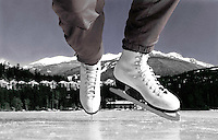 Self portrait originally shot in black and white of my feet in skates, on Alta Lake with Blackcomb Mountain behind. I think this was my second cover photo for the Whistler Question Newspaper.