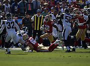San Francisco 49ers running back Matt Breida (22) runs with the ball during an NFL football game against the Los Angeles Rams, Sunday, Oct. 13, 2019, in Los Angeles. (Dylan Stewart/Image of Sport)
