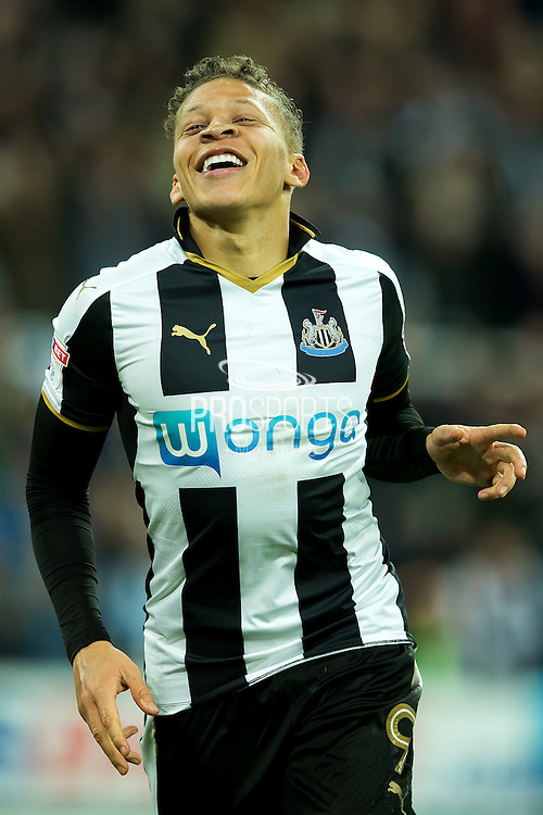 Newcastle United forward Dwight Gayle (#9) celebrates Newcastle United's third goal (3-1) during the EFL Sky Bet Championship match between Newcastle United and Nottingham Forest at St. James's Park, Newcastle, England on 30 December 2016. Photo by Craig Doyle.
