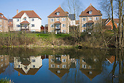 Modern housing development along the River Colne in the town centre, Colchester, Essex, England