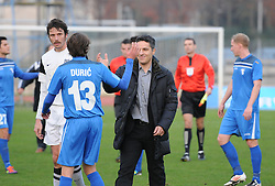 Oliver Bogatinov, head coach of ND Mura 05 and Nedim Duric #13 of ND Gorica after football match between ND Gorica and ND Mura 05 in 20th Round of Prva liga NZS 2012/13, on November 24, 2012 in Nova Gorica, Slovenia. (Photo by Ales Cipot / Sportida)