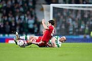 Celtic midfielder Scott Brown (#8) challenges Aberdeen forward Wes Burns (#8) during the Scottish Cup final match between Aberdeen and Celtic at Hampden Park, Glasgow, United Kingdom on 27 November 2016. Photo by Craig Doyle.