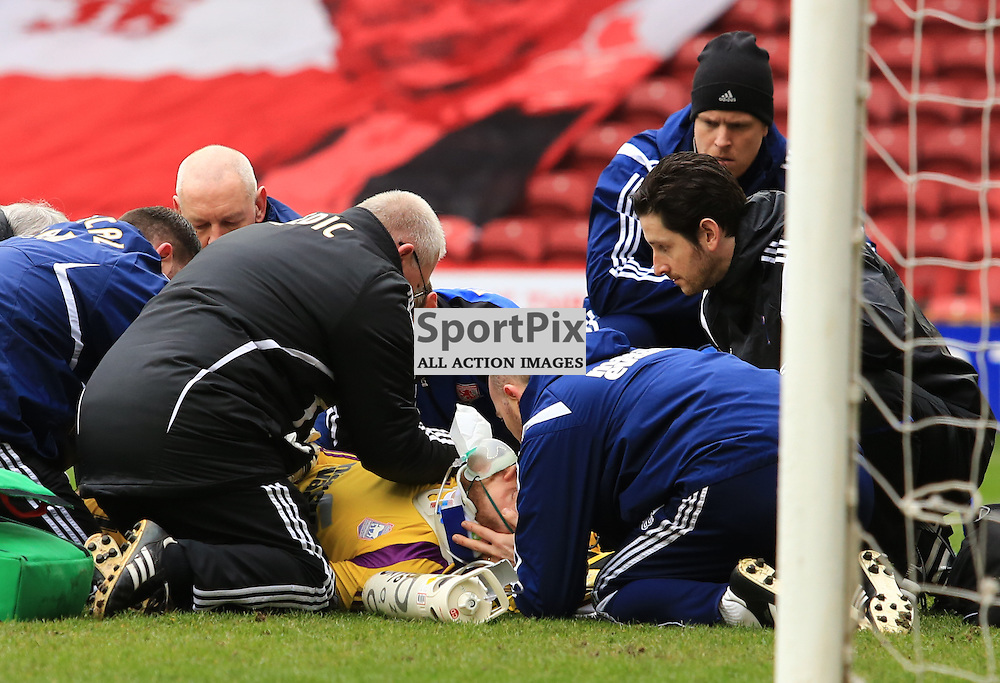 Concern for Ipswich Town FC Goalkeeper Dean Gerken during the Middlesbrough FC v Ipswich Town FC Sky Bet Championship 14th March 2015 ©Edward Linton | SportPix.org.uk