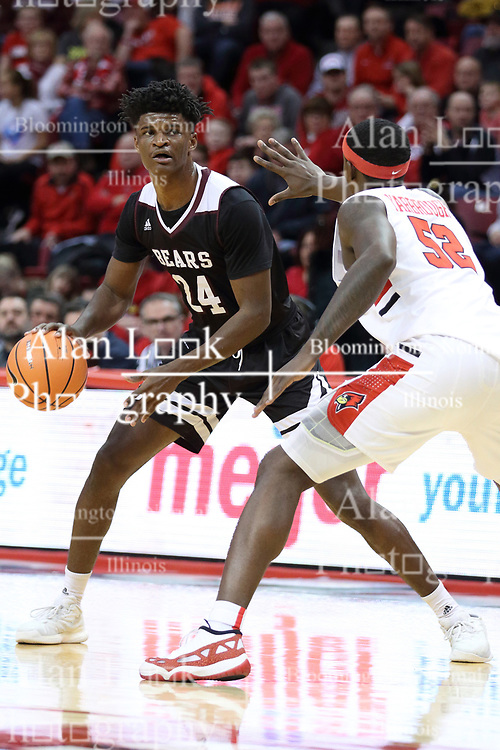 07 January 2018:  Milik Yarbrough defends Alize Johnson during a College mens basketball game between the Missouri State Bears and Illinois State Redbirds in Redbird Arena, Normal IL