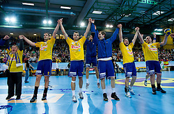 Players of Cimos Koper celebrate after the 1st Leg handball match between RK Cimos Koper and BM Atletico Madrid (ESP) in Quarterfinals of EHF Champions League 2011/2012, on April 21, 2012 in Arena Bonifika, Koper, Slovenia.  Cimos Koper defeated Atletico Madrid 26-23. (Photo by Vid Ponikvar / Sportida.com)