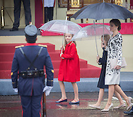 Madrid,  12-10-2016  <br /> <br /> King Felipe and Queen Letitia, Princess Leonore and Princess Sofia attend the military Parade on the occasion of the national Day of Spain<br /> <br /> COPYRIGHT ROYALPORTRAITS EUROPE/ BERNARD RUEBSAMEN