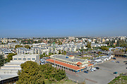 Elevated view of Ramla, Israel from the top of the white tower