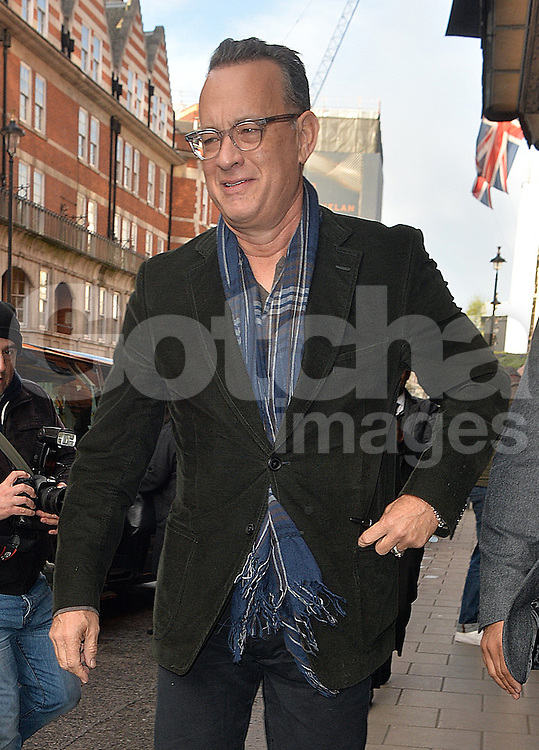 Actor Tom Hanks leaving Claridges Hotel in London, UK. 26/04/2016<br />BYLINE MUST READ : GOTCHAIMAGES.COM<br /><br />Copyright by &copy; Gotcha Images Ltd. All rights reserved.<br />Usage of this image is conditional upon the acceptance <br />of Gotcha Images Ltd, terms and conditions available at<br />www.gotchaimages.com