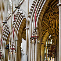 Stone arches and fan vaulting in nave at Bath Abbey, England