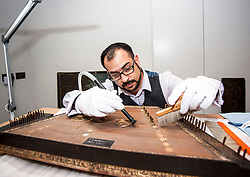Conservator Jonathan Santa Maria Bouquet works on an 18th century dulcimer as part of the newly-refurbished St Cecilia's Hall, which has just undergone a 2 year, &pound;6.5 million refurbishment which will see more of the University of Edinburgh's musical instrument collection on display to the public.<br /> <br /> &copy; Dave Johnston/ EEm