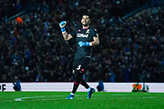 Leeds United goalkeeper Kiko Casilla (13) celebrates Leeds second goal to make it 2-0 during the EFL Sky Bet Championship match between Leeds United and Queens Park Rangers at Elland Road, Leeds, England on 2 November 2019.