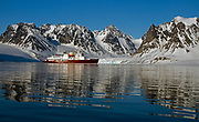 "The expedition vessle MS ""Polar Star"" on anchor at Magdelenefjord, western Spitsbergen, Svalbard."