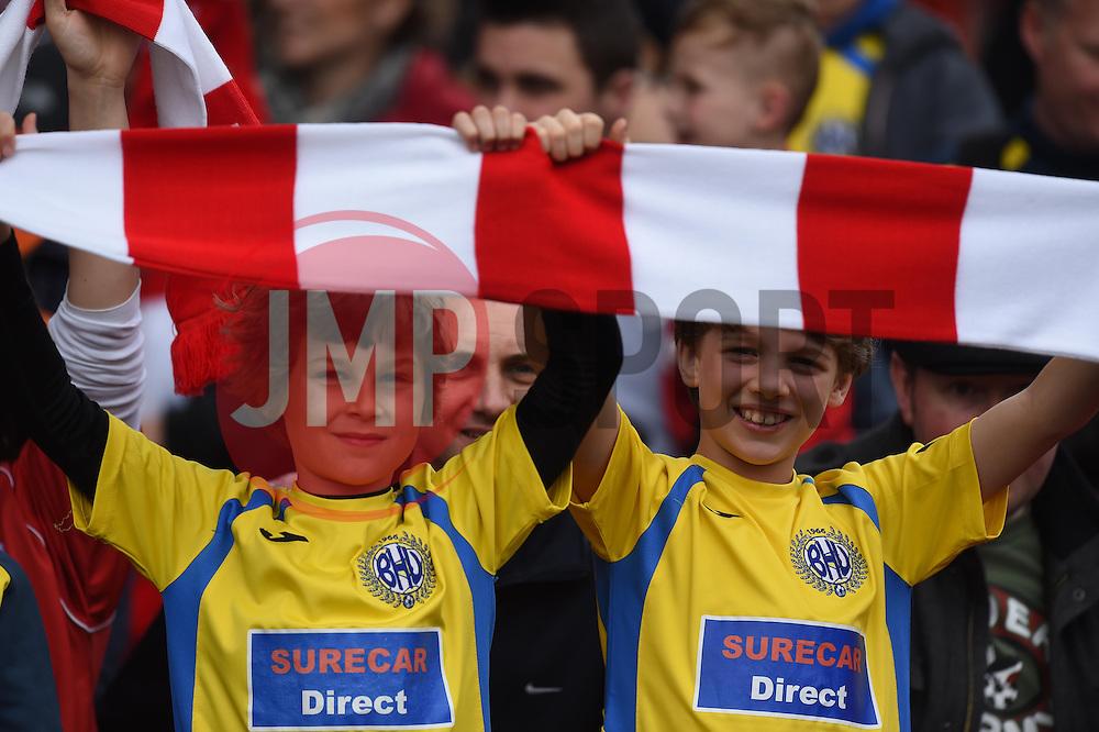 Supporters celebrate Bristol City winning the Sky Bet League One title - Photo mandatory by-line: Paul Knight/JMP - Mobile: 07966 386802 - 03/05/2015 - SPORT - Football - Bristol - Ashton Gate Stadium - Bristol City v Walsall - Sky Bet League One