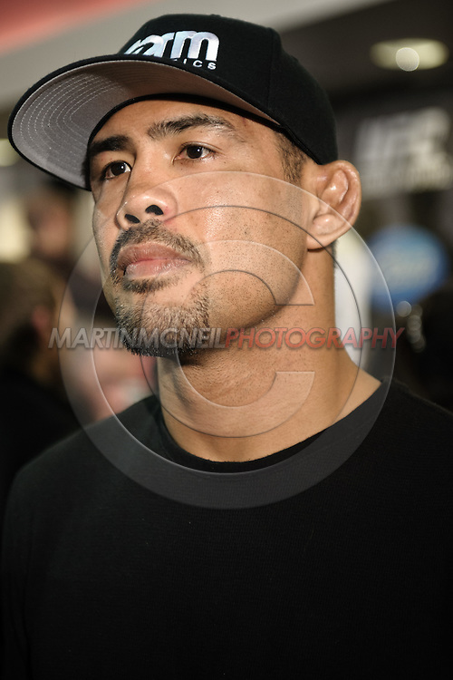 BIRMINGHAM, ENGLAND, NOVEMBER 5, 2011: Middleweight fighter Mark Munoz is pictured leaving the post-fight press conference for UFC 138 inside the LG Arena on November 5, 2011.