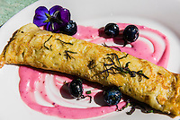 A blueberry crepe, Poppies Restaurant, Jewell Gardens, Skagway, Inside Passage, southeast Alaska USA.