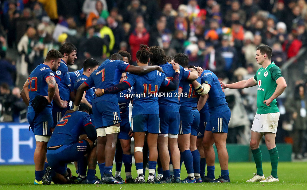 NatWest 6 Nations Championship Round 1, Stade de France, Paris, France 3/2/2018<br /> France vs Ireland<br /> Ireland's Johnny Sexton consoles the French team<br /> Mandatory Credit &copy;INPHO/James Crombie