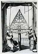 Johannes Hevelius and his wife making astronomical obsrvations using a sextant. From his 'Machinae Coelestis', Danzig, 1673.