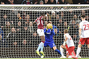 Nottingham Forest goalkeeper Costell Pantillimon (1)  makes an important save  from Aston Villa striker(on loan from Chelsea) Tammy Abraham (18) during the EFL Sky Bet Championship match between Aston Villa and Nottingham Forest at Villa Park, Birmingham, England on 28 November 2018.
