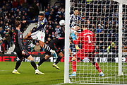 Kenneth Zohore heads at goal during the EFL Sky Bet Championship match between West Bromwich Albion and Stoke City at The Hawthorns, West Bromwich, England on 20 January 2020.