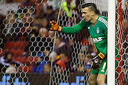 Nottingham Forest goalkeeper Dorus de Vries gives his players instructions during the Sky Bet Championship match between Nottingham Forest and Queens Park Rangers at the City Ground, Nottingham, England on 26 January 2016. Photo by Aaron Lupton.