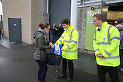 Security staff frisk supporters before and carry out searches before the Sky Bet Championship match between Brighton and Hove Albion and Birmingham City at the American Express Community Stadium, Brighton and Hove, England on 28 November 2015. Photo by Phil Duncan.