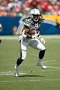 Los Angeles Chargers running back Melvin Gordon III (28) runs with the ball after catching a first quarter pass for a gain of 13 yards and a first down at the San Francisco 49ers 40 yard line during the NFL week 4 regular season football game against the San Francisco 49ers on Sunday, Sept. 30, 2018 in Carson, Calif. The Chargers won the game 29-27. (©Paul Anthony Spinelli)