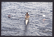 London. United Kingdom.  Fiona FRECKELTON. . 1990 Scullers Head of the River Race. River Thames, viewpoint Chiswick Bridge Saturday 07.04.1990<br /> <br /> [Mandatory Credit; Peter SPURRIER/Intersport Images] 19900407 Scullers Head, London Engl