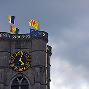 The top of the Gothic tower of St. Julien Church in Ath - rebuilt after a 19th Century fire, the church dates back to 1394